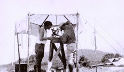 Lieutenants Charles Pierce and William Tucker setting up at Station Algers in the Big Sur area of the California coast. Photo