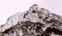 The objective - a triangulation station is located on this high peak in the Santa Lucia Mountains. Photo