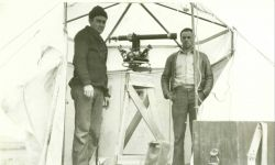 Vic Smith and Dube Erickson at triangulation station along the 46th Parallel Photo