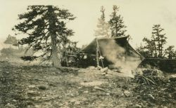 A lightkeeper's leanto just below mountain station on 46th Parallel survey in Montana Image