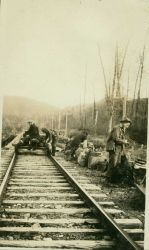 Leaving the velocipede and getting ready to head into the wilderness along the Alaska to Fairbanks railway Photo