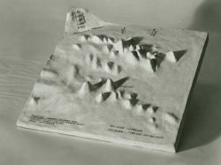 A three-dimensional plaster (?) model of Gilbert and Patton Seamount groups in the Gulf of Alaska. Image