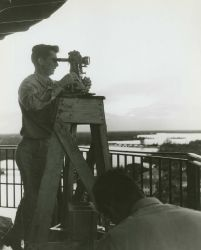 Observing horizontal angles with a Wild T-3 theodolite from a lighthouse. Photo