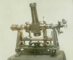 A Bamberg astronomic theodolite used to determine astronomic latitude and longitude as well as determine gravitational deflection from the vertical. Image