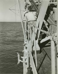 Commander Marvin Paulson hanging a Nanson bottle for collecting water specimen and measuring temperature at depth. Photo