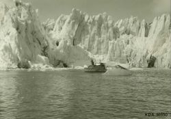Launch from the USC&GSS WESTDAHL taking soundings at Taku Glacier. Photo