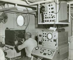 Operating Shoran electronic navigation equipment Photo