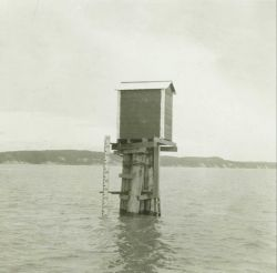 The tide gage at Anchorage at high tide Photo
