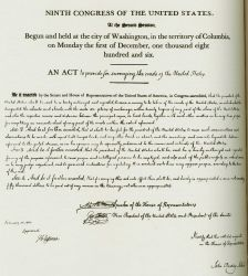 A copy of the original act forming the Survey of the Coast in 1807. Image