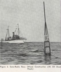 A cartoon of a survey ship approaching a radio acoustic ranging (RAR) radio sono-buoy Photo