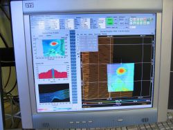 Computer displays associated with survey data acquisition and processing on the NOAA Ship THOMAS JEFFERSON. Photo