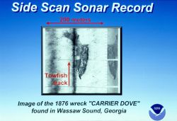 Example of side scan sonar record of 1876 wreck of