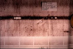 Example side scan sonar paper record of vessel on seafloor. Photo
