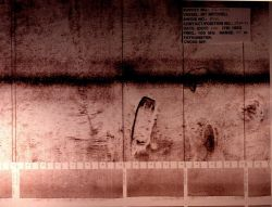 Side scan sonar record of what appears to be a sunken barge. Photo