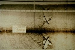 Side scan sonar image of what appears to be two aircraft on seafloor. Photo