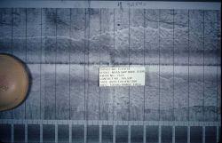 Side scan sonar image of debris on seafloor. Photo