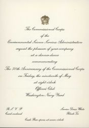 Invitation to the 50th Anniversary of the Commissioned Corps of the Environmental Science Services Administration, formerly the commissioned Photo