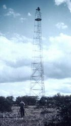 77-foot Bilby steel tower at Station Moody in Texas Photo