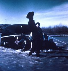 Hadley and Wildman fording the Gila River in a C&GS truck Photo