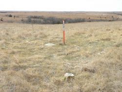 The triangulation station Meades Ranch, left of marker post, and Reference Mark No Photo