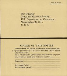 Drift bottle information to be furnished by finder and returned to Coast and Geodetic Survey. Photo