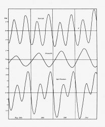 Graphical records of tides in different tidal regime areas on the coastline of the United States. Photo