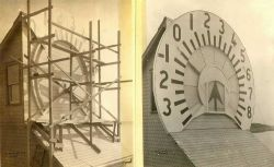 Scaffolding for painting numerals and unit indicators on tide indicator Photo