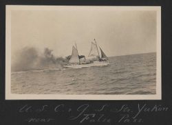USC&GS Steamer YUKON under sail and steam churning and burning. Photo