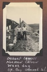 Dehart Serrill and Norman Calvan on wash day at the OK Bay hydrographic survey camp. Photo