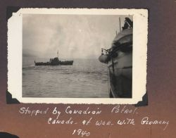 Coast and Geodetic Survey Ship SURVEYOR stopped by Canadian patrol in Canadian Inside Passage as Canada the British Commonwealth of Nations was at war Photo