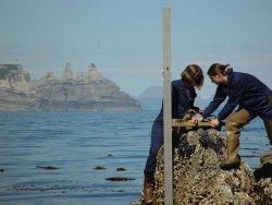 Installing a tide gage near Castle Cape. Photo
