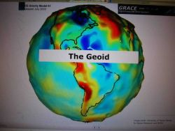 A somewhat exaggerated model of the geoid developed by the University of Texas Center for Space Research and NASA. Photo