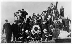 Survivors of the shipwreck of the US Revenue Cutter TAHOMA on the bow of the USC&GS Ship PATTERSON being transported from Aleutian Islands. Photo