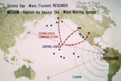 Graphic of tsunami warning system which was implemented and operated by the Coast and Geodetic Survey Photo