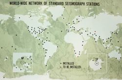 World-wide network of standard seismograph stations managed by Coast and Geodetic Survey Photo