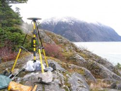 Establishing horizontal control point for hydrographic surveying. Photo