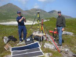 Establishing horizontal control point for hydrographic surveying. Photo