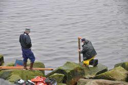 Installing tide staff. Photo