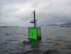 Coast Guard daymarker at a high tide Photo