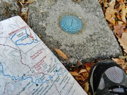 Trail map and US Coast and Geodetic Survey marker on Pine Mountain Photo
