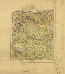 A park designed by Henry Whiting perhaps as an example of topographical drawing. Photo