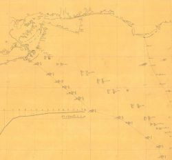 Section of Hydrographic Survey H-599, showing the deep sea soundings and temperatures southeast of Mississippi Passes and south of the Florida Panhand Photo