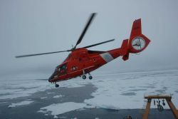 US Coast Guard Cutter HEALY operates with a compliment of two Coast Guard HH-65B Dolphin Helicopters in addition to Healy's normal equipment and crew Photo