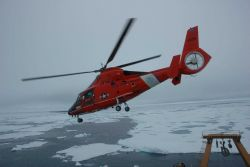 All personnel and scientific equipment for the cruise are brought aboard exclusively by helicopter Photo
