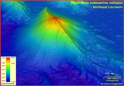 The summit of the West Mata Volcano is nearly a mile below the ocean surface (1165 meters / 3882 feet), and the base descends to nearly two miles (300 Photo