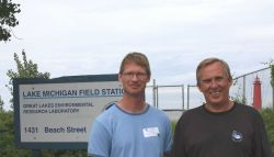 Steve Pothoven (left) and Gary Fahnenstiel, researchers at NOAA's Great Lakes Environmental Research Laboratory, at the Muskegon Field Station. Photo