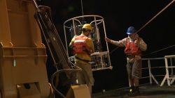 Preparing to launch the CTD rosette Photo
