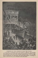 Lowering of the lifeboats from the TITANIC In: Marshall, Logan 1912 Photo