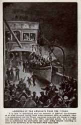 Artist's rendition of the lowering of the lifeboats from the TITANIC Photo