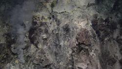 Hydrothermal vents on Kawio Barat submarine volcano spew white smoke Photo